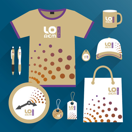 Modern promotional souvenirs design, uniform for corporate identity with round elements. Stationery set