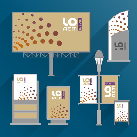 outdoor advertising: Modern outdoor advertising design for corporate identity with round elements. Stationery set