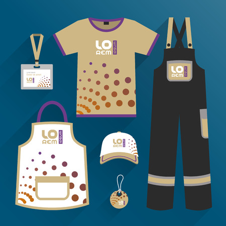 Modern promotional wear design, uniform for corporate identity with round elements. Stationery set