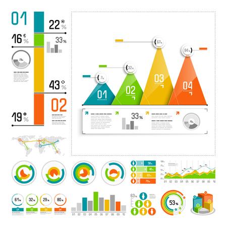 grafica de barras: Infographics fijados con elementos de color. Vector de información gráfica