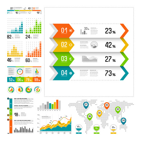 finances: Infographics set with color elements. Vector information graphics Illustration