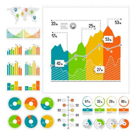 Infographics set with color elements. Vector information graphics Иллюстрация