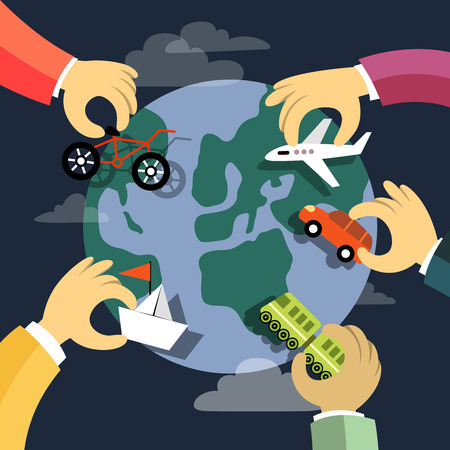 excursions: Travel by different kinds of transport. Car, bicycle, airplane, ship and train. Around the globe. Flat design illustration