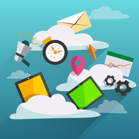 Concept of cloud services. Storage of information in the clouds. Flat design illustration