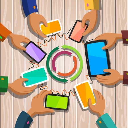 Communication concept. People life and work in the world of gadgets. Icons of smartphones and tablet. Devices and social discussion. Flat design illustration