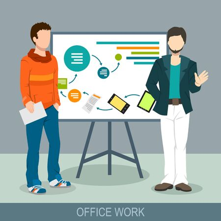 Business concept. A men making a presentation at the board. Report, meeting, skull session, council. Flat design illustration