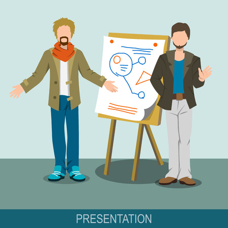 presentation board: Business concept. A men making a presentation at the board. Report, meeting, skull session, council. Flat design illustration