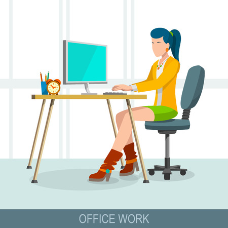before: Office work concept. Workplace and job at the computer. Beautiful girl sits before the monitor on a chair in the office. Flat design vector illustration
