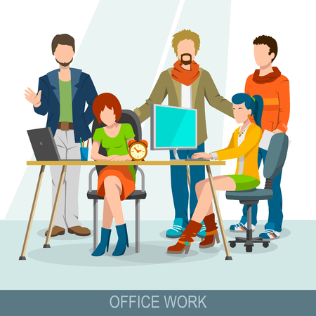 discussion: Teamwork concept. Business meeting, brainstorming and discussion. Group of people at the table spend report, presentation, skull session, council or dialogue. Flat design illustration
