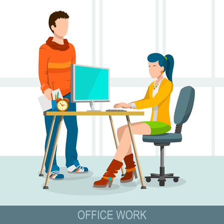 Teamwork concept. Business meeting, brainstorming and discussion. Flat design illustration