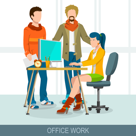 Teamwork concept. Business meeting, brainstorming and discussion. Group of people at the table spend report, presentation, skull session or council. Flat design illustration Иллюстрация