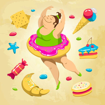 Fat ballerina is dancing and dreaming about sweets. Vector fitness concept. Иллюстрация