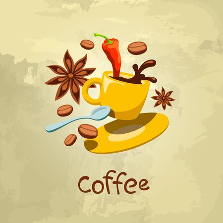 A cup of coffee with spices. Vector illustration concept.