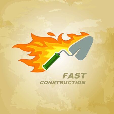 Construction company logo concept for company. The trowel on fire. Vector emblem for corporate identity.