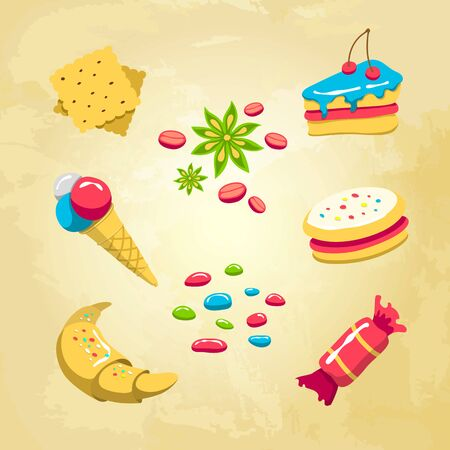 sugar cookies: Sweets icons set with croissant, icecream and other desserts. Collection of vector symbols Illustration