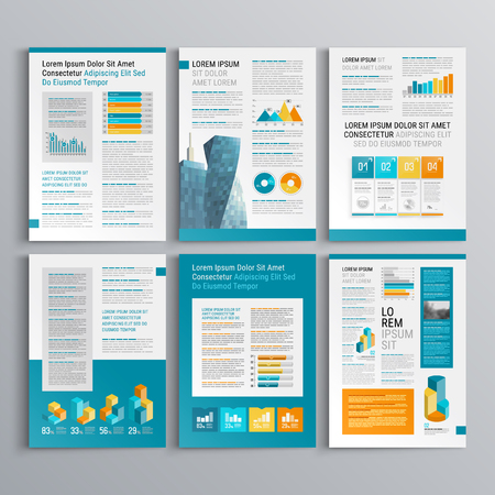 Business brochure template design with color squares. Cover layout and infographics