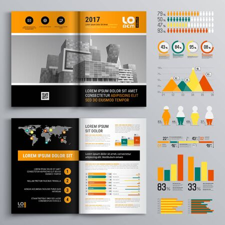 Business brochure template design with city view. Cover layout and infographics Illusztráció