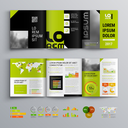 Business brochure template design with green main color. Cover layout and infographics