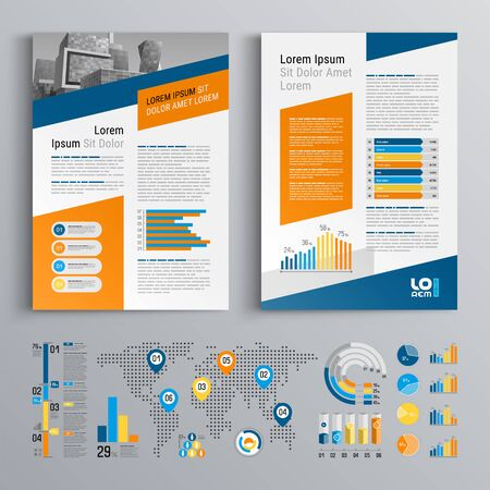 Business brochure template design with blue and orange elements. Cover layout and infographics