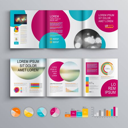 Business brochure template design with pink and blue round elements. Cover layout and infographics