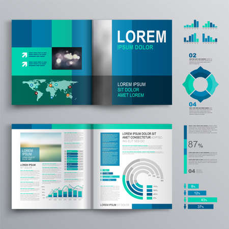 Blue business brochure template design with vertical shapes. Cover layout and infographics 向量圖像