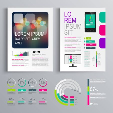 Colorful business brochure template design with color square shapes. Cover layout and infographics