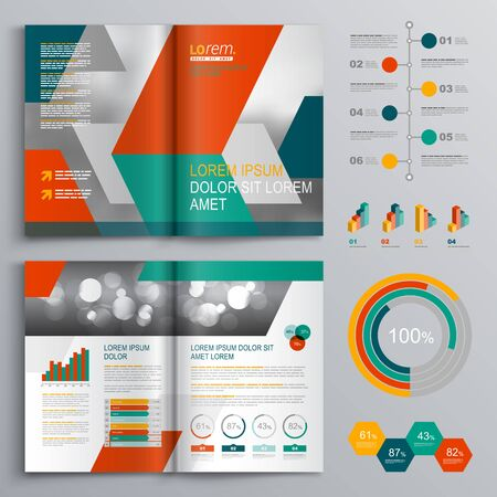 Business brochure template design with green and red geometric shapes. Фото со стока - 91384674