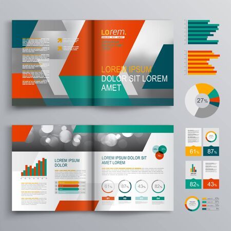 Business brochure template design with green and red geometric shapes. Cover layout and infographics 向量圖像