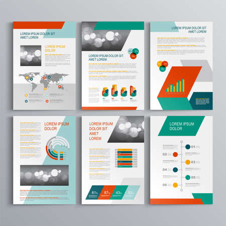 Business brochure template design with green and red geometric shapes.