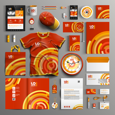 Red corporate identity template design with orange and yellow round elements. Business stationery