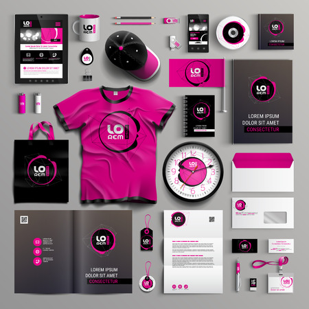 Corporate identity template design with modern black and pink structure. Business stationery Vettoriali
