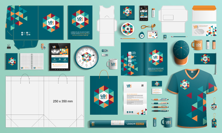 Blue corporate identity template design with color geometric elements. Business stationery 向量圖像