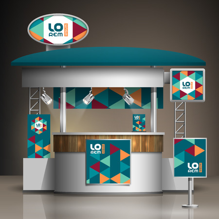 Blue exhibition stand design with color geometric elements. Booth template. Corporate identity