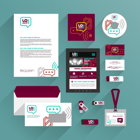 Red corporate identity template design with mobile and communication icons. Business stationery