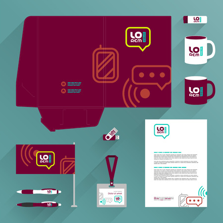 Red folder template design and corporate identity set with mobile and communication icons. Stationery set