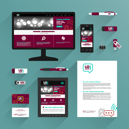 Red application template design for corporate identity with mobile and communication icons. Stationery set