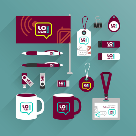 Red promotional souvenirs design for corporate identity with mobile and communication icons. Stationery set 向量圖像