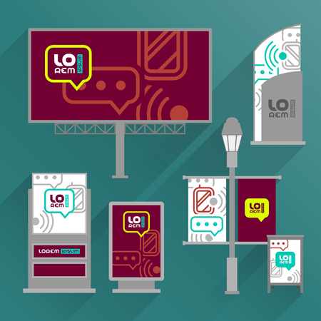 Red outdoor advertising design for corporate identity with mobile and communication icons. Stationery set