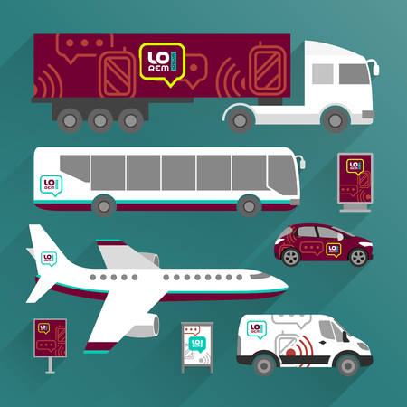 Red transport advertising design with mobile and communication icons. Templates of the truck, bus, passenger car and plane. Corporate identity