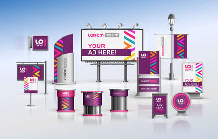 Purple outdoor advertising design for corporate identity with color geometric elements. Stationery set Иллюстрация