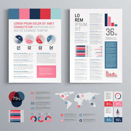 Business brochure template design with color squares. Cover layout and infographics Фото со стока - 160176795