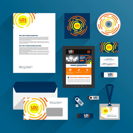 Blue corporate identity template design with orange round shapes. Business stationery Иллюстрация