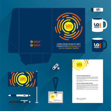 Blue folder template design and corporate identity set with orange round shapes. Stationery set