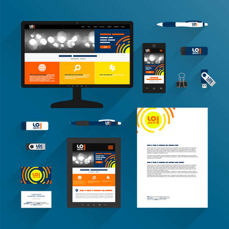 Blue application template design for corporate identity with orange round shapes. Stationery set