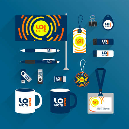 Blue promotional souvenirs design for corporate identity with orange round shapes. Stationery set