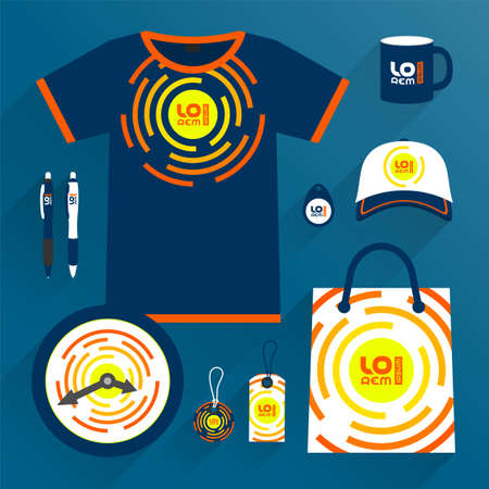 Blue promotional souvenirs design, uniform for corporate identity with orange round shapes. Stationery set Фото со стока - 160176809