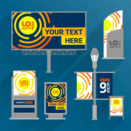 Blue outdoor advertising design for corporate identity with orange round shapes. Stationery set Фото со стока - 160176810