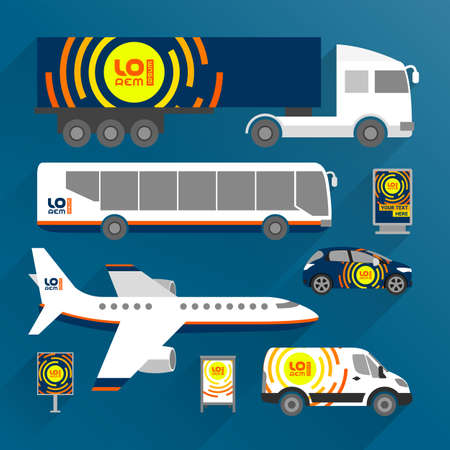 Blue transport advertising design with orange round shapes. Templates of the truck, bus, passenger car and plane. Corporate identity Иллюстрация