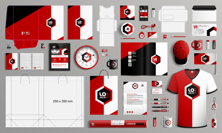 Classic corporate identity template design with color geometric elements. Business stationery