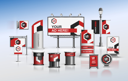 Classic outdoor advertising design for corporate identity with color geometric elements. Stationery set Illustration